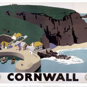 Cornwall Cliff and Harbour Art Print